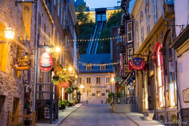 Rue Sous le Fort and Le Funiculaire at Dawn, Lower Town Quebec City (Basse-Ville), QC, Canada, photo