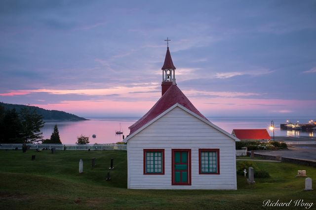 Chapelle de Tadoussac at Sunrise, Quebec, Canada, photo