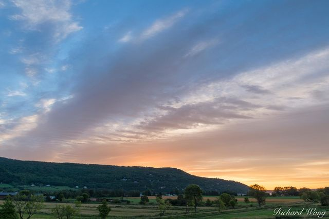 Baie-Saint-Paul Farmlands at Sunrise, Quebec, Canada, photo