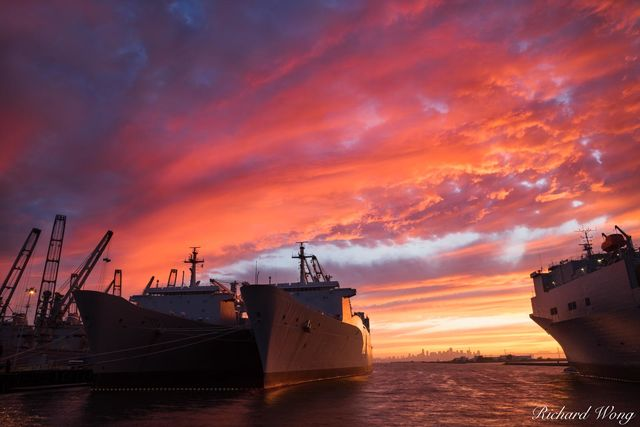 Alameda Point Navy Ships at Sunset, Alameda, California