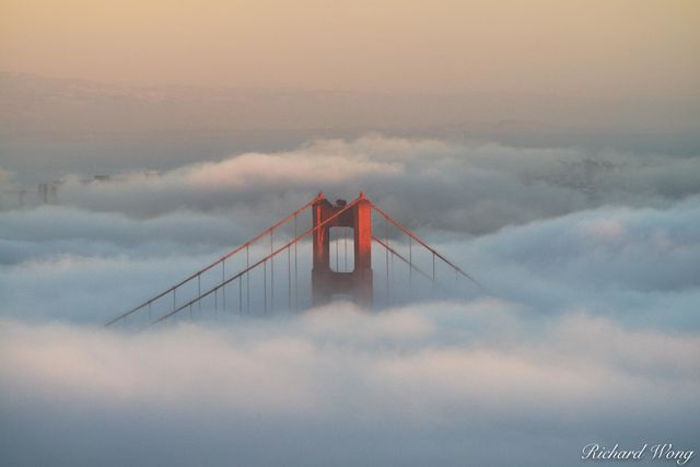 Golden Gate Bridge Foggy Sunset From Hawk Hill, Marin Headlands, California, photo