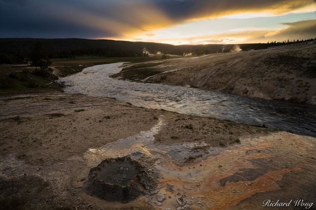Chinese Spring & Firehole River at Sunset, Yellowstone National Park, Wyoming, photo