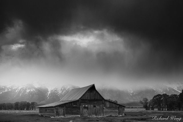 Mormon Row Barn Stormy Sunrise Black & White, Grand Teton National Park, Wyoming, photo