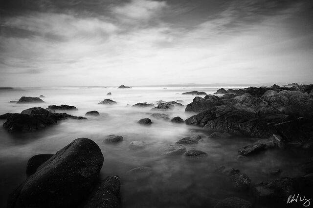 Black and White Photo: 17 Mile Drive Seascape Long Exposure, Pebble Beach, California