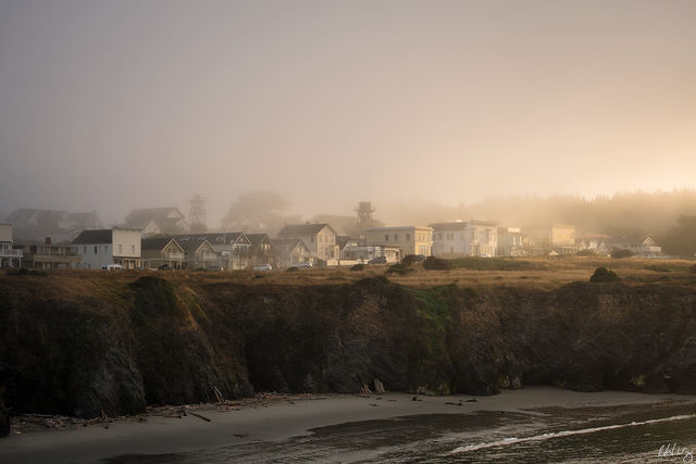 Foggy Sunrise, Mendocino, California, Photo