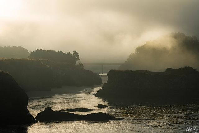 Big River Beach & Highway 1, Mendocino, California, Photo