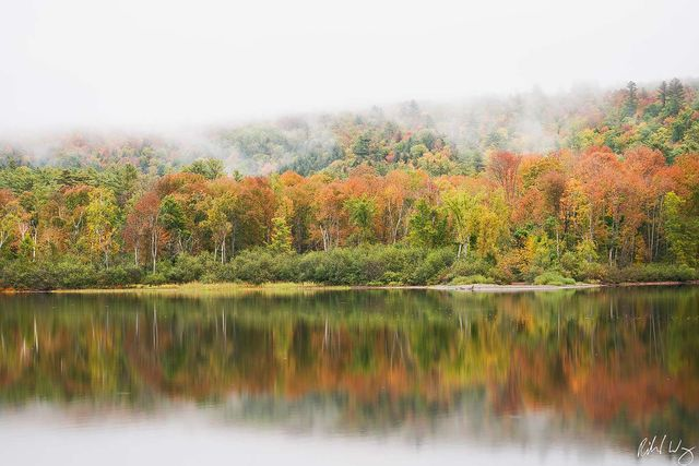 Echo Lake Morning Fog & Fall Color, Charleston, Vermont, Photo