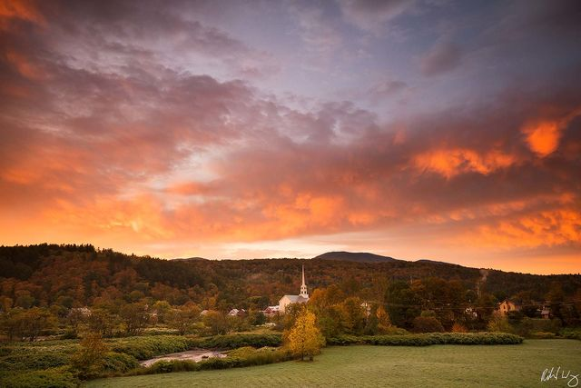 Stowe Fall Sunrise, Vermont, Photo