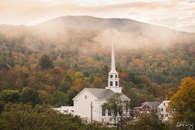 Foggy Fall Morning, Stowe, Vermont, Photo