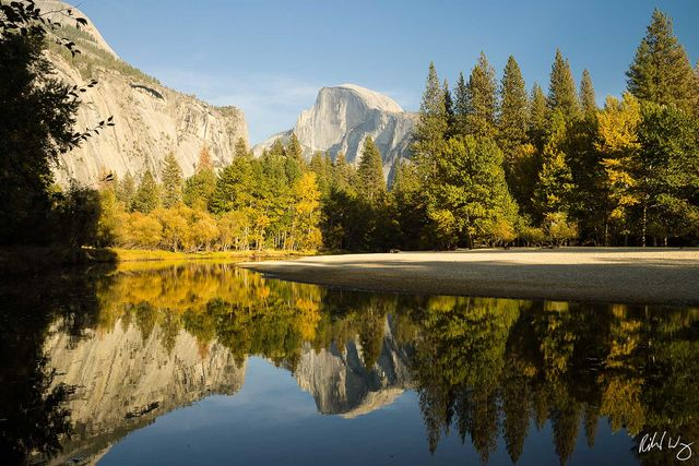 Half Dome & Fall Color Reflection in Merced River, Yosemite National Park, California, Photo