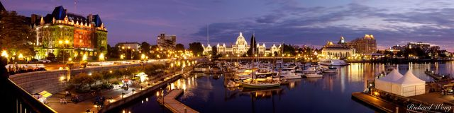 Panoramic of Victoria Inner Harbour, British Columbia, Canada, photo