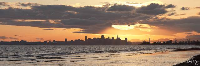 Panoramic Photo of Robert Crown Memorial State Beach Sunset With Downtown San Francisco Skyline in Background, Alameda, California, photo