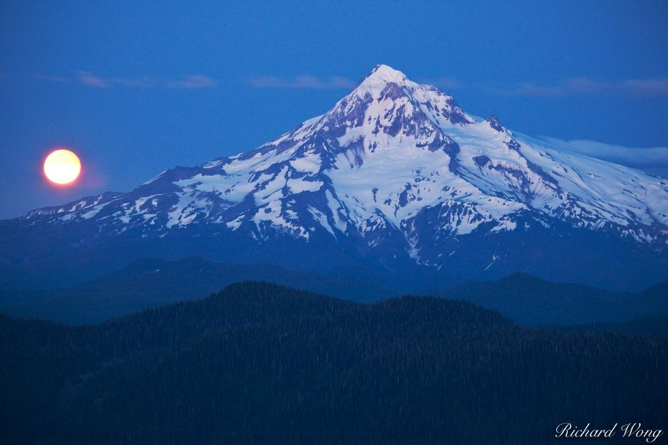 Full Moon Rising from Behind Mount Hood, Mount Hood National Forest, Oregon, photo