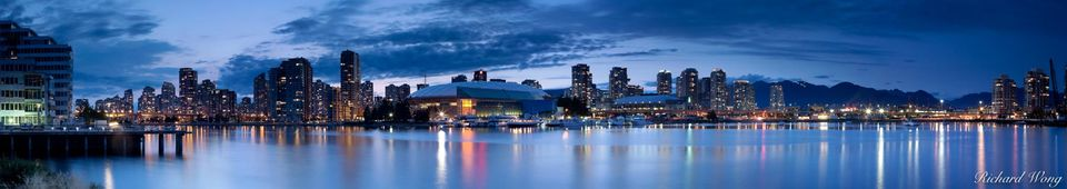 Vancouver Skyline Panoramic and False Creek at Night, British Columbia, Canada, photo
