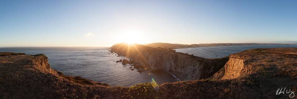 Chimney Rock Panoramic at Sunset, Point Reyes National Seashore, California, photo