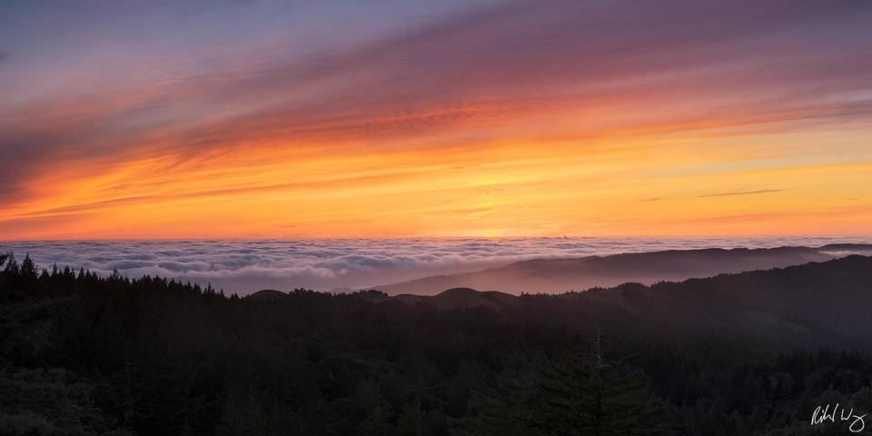 Foggy Sunset Panoramic, Mount Tamalpais State Park, California, photo