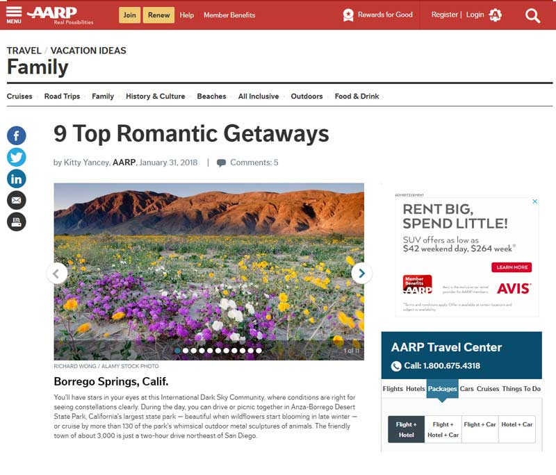 AARP - 9 Romantic Getaways - Anza Borrego Desert, photo