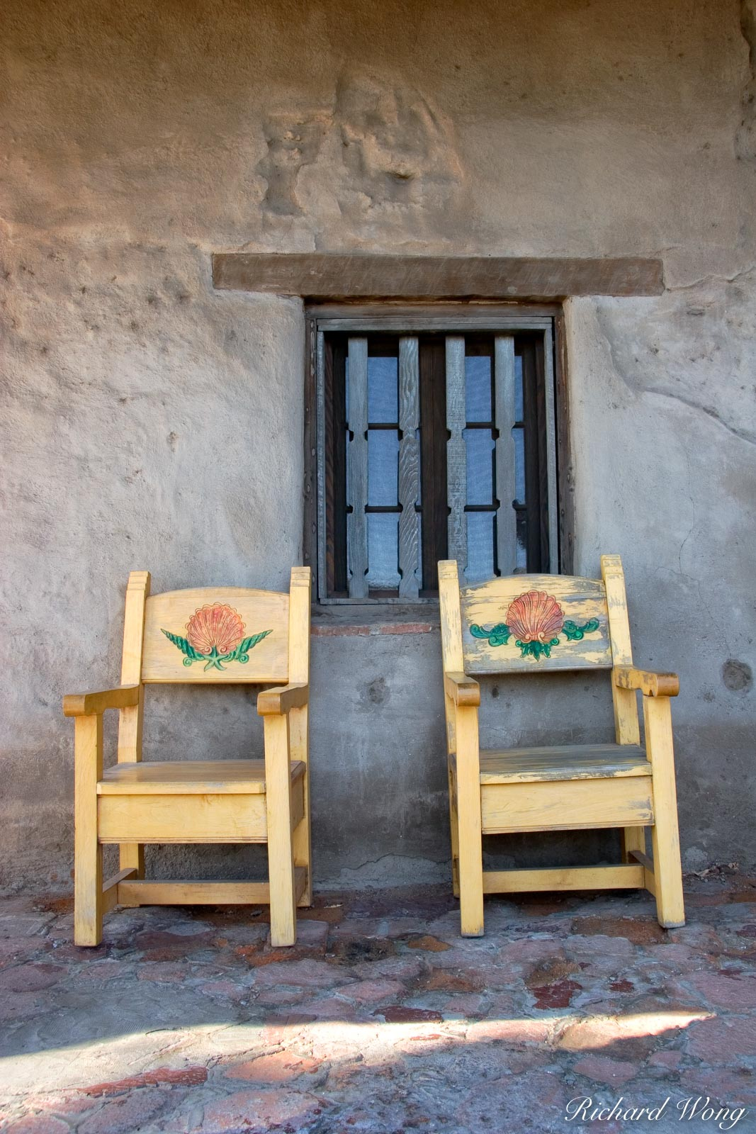 Chairs and Window, Mission San Juan Capistrano, California, photo, photo