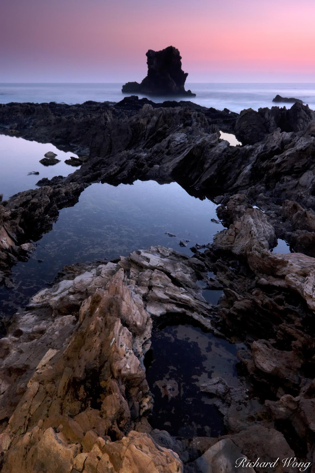 Low Tide and Sea Stack at Dusk, Corona Del Mar, California, photo, photo