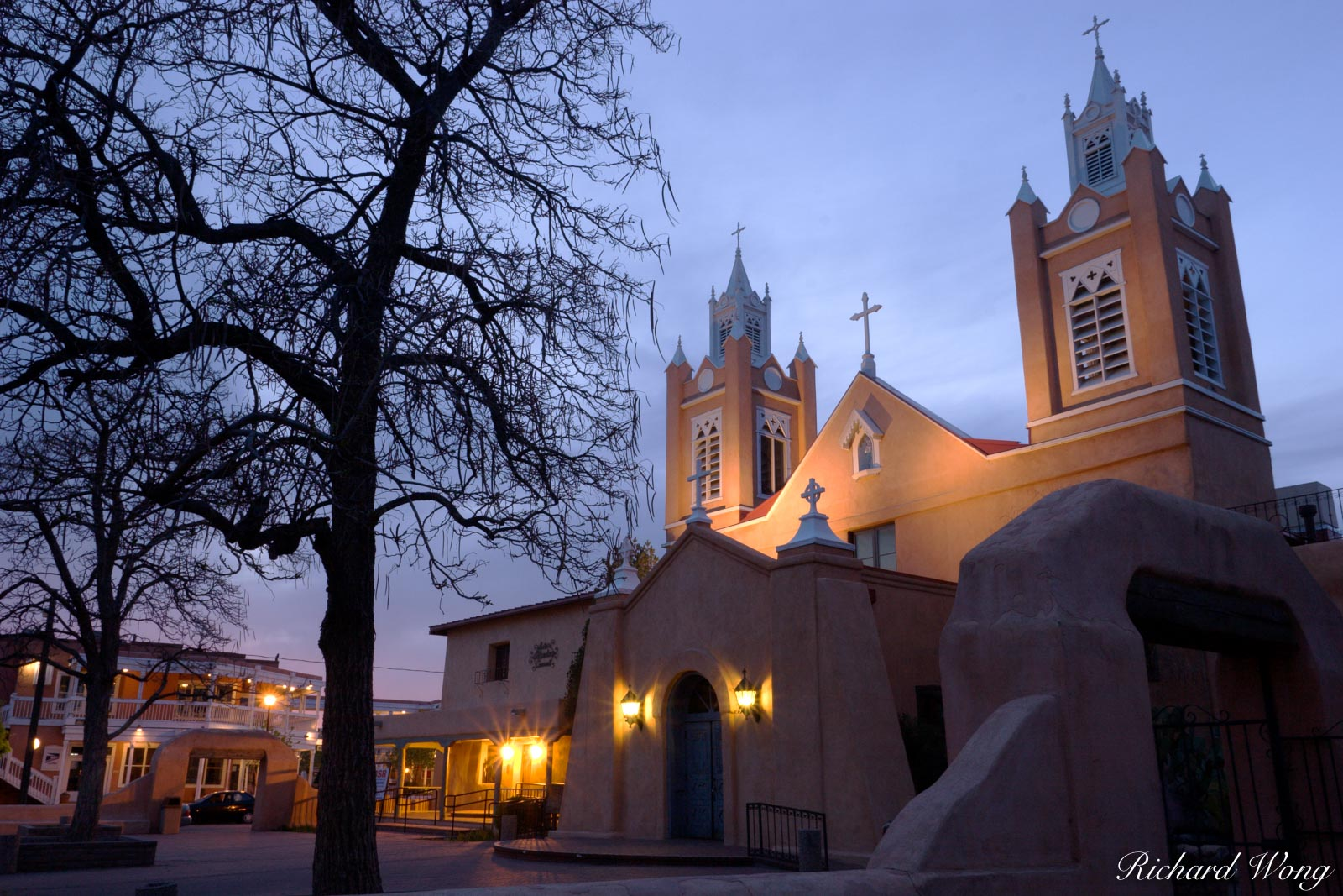 Albuquerque, New Mexico, Old Town Albuquerque, Old Town Plaza, San Felipe Neri Catholic Church, churches, dusk, old buildings, spanish architecture, sunset, photo