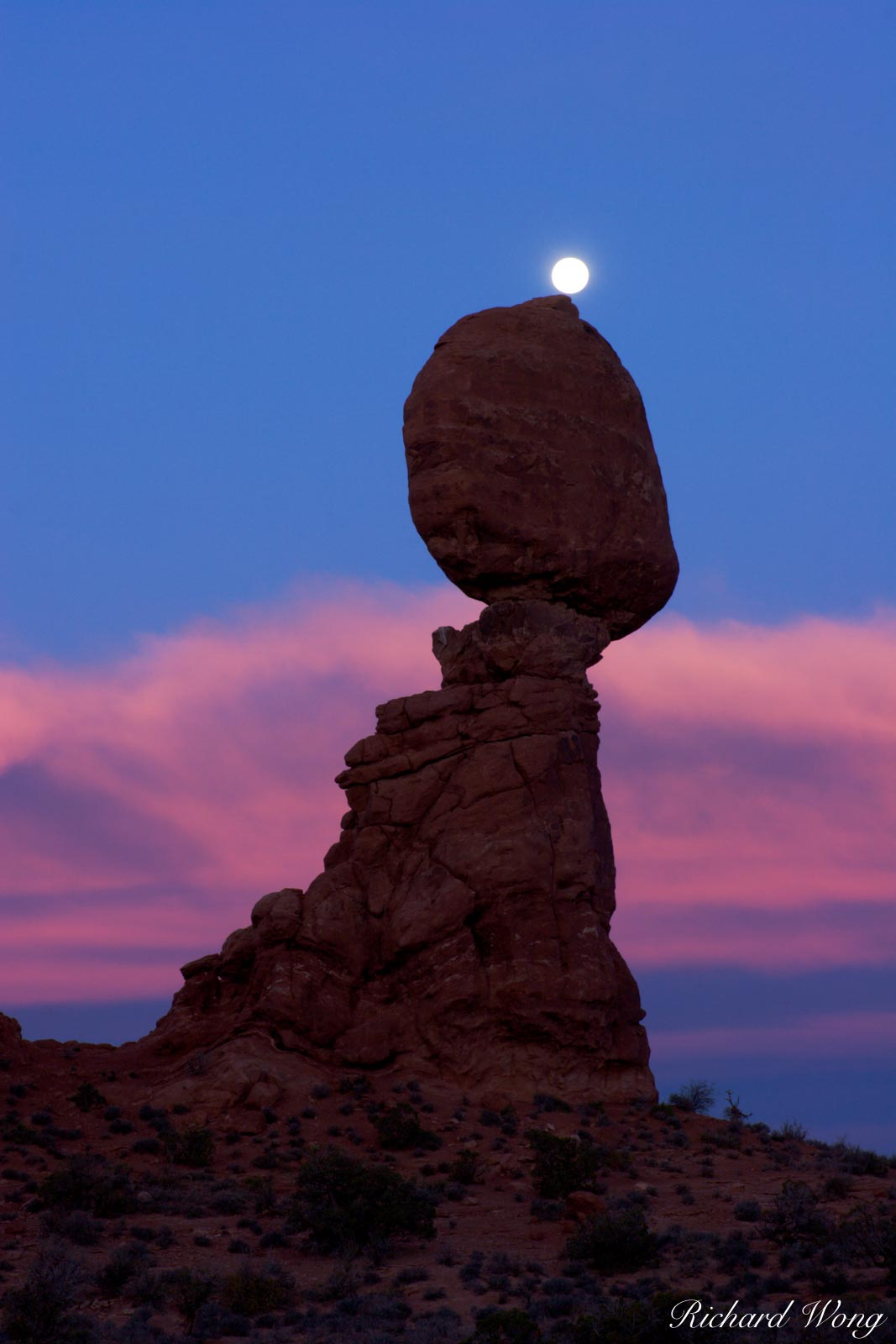 Full Moon Balanced on Balanced Rock, Arches National Park, Utah, photo, photo