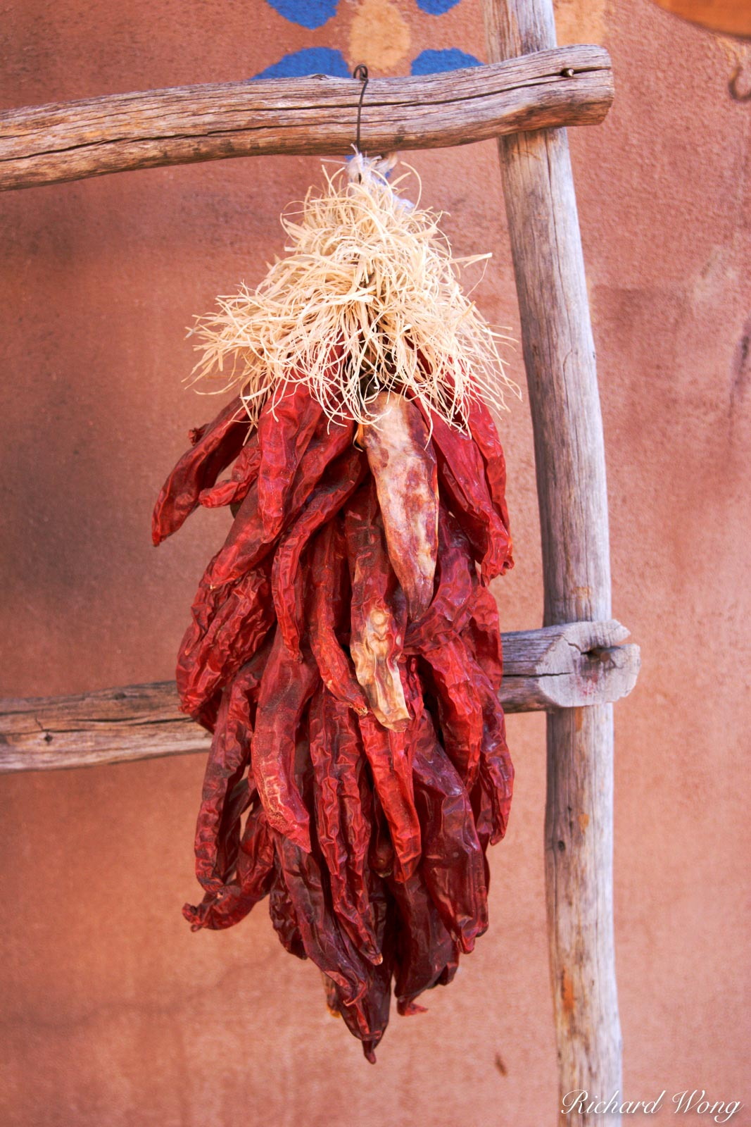 Red Chiles Hanging from Wooden Ladder at Old Town Plaza, Albuquerque, New Mexico, photo, photo