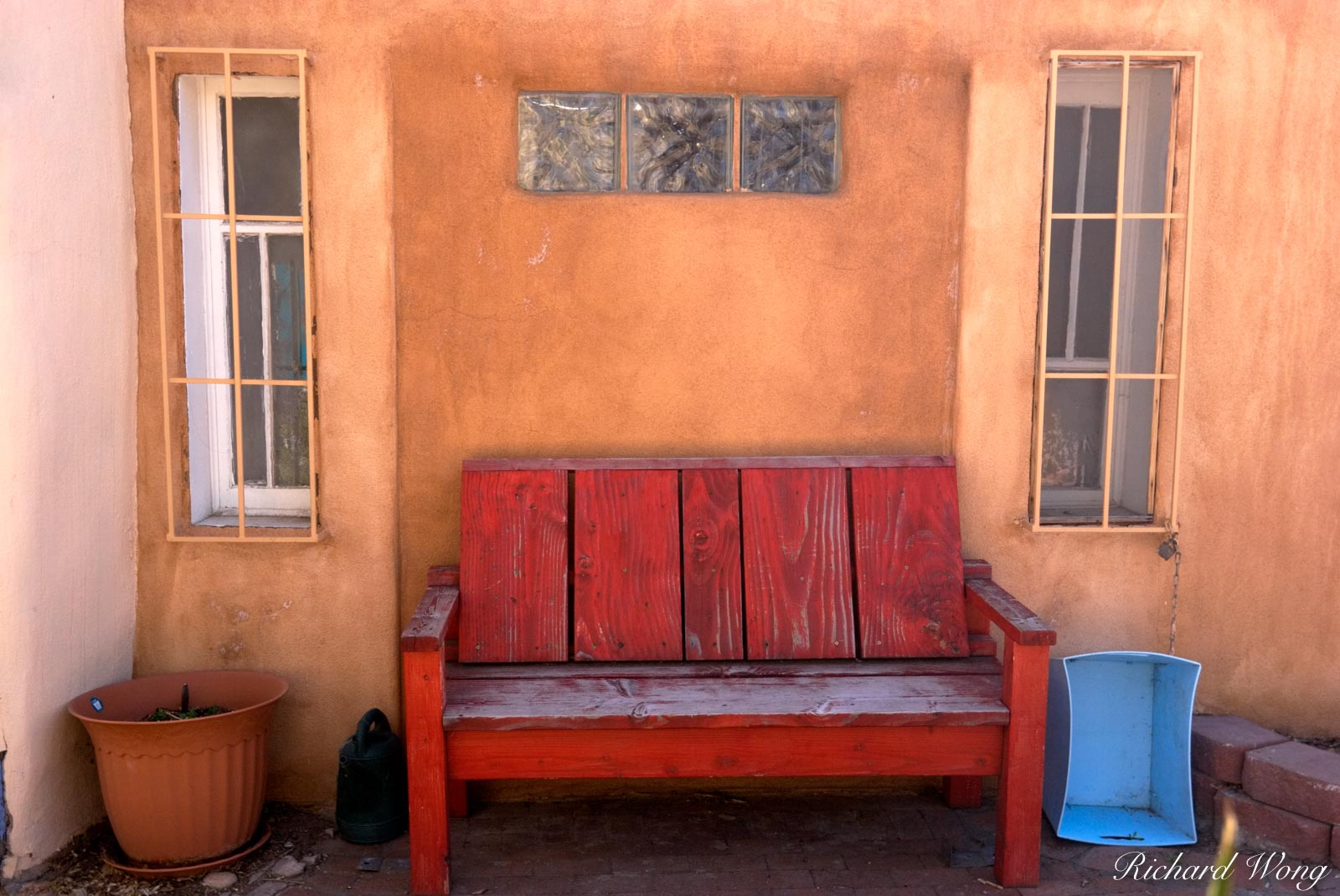 Red Bench Against Adobe Wall at Old Town Plaza, Albuquerque, New Mexico, photo, photo