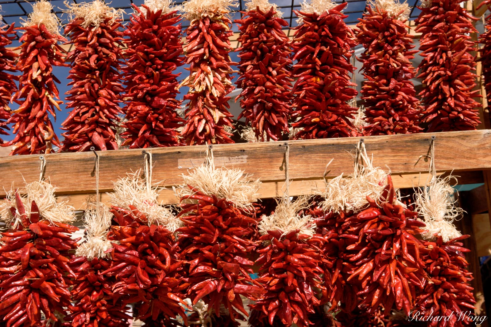 Red Chiles for Sale on Vendor Stall at the Plaza, Santa Fe, New Mexico