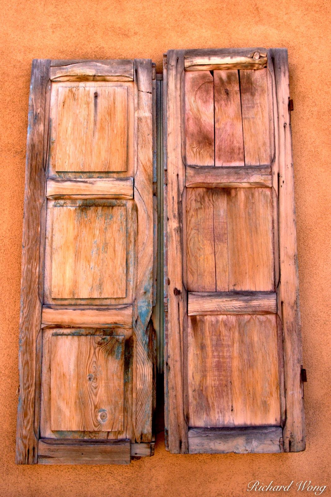 Wooden Windows Shutters along Canyon Road, Santa Fe, New Mexico, photo, photo