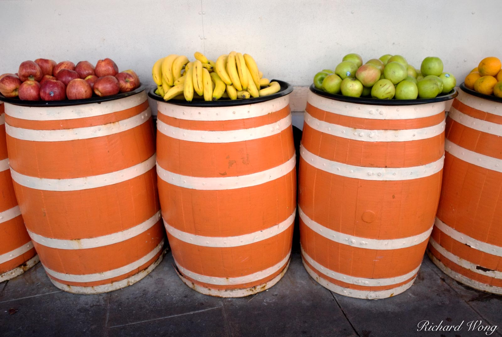 California, Fruits on Barrels at Olvera Street, L.A., colors, fruit, los angeles, market, markets, snack stand, vendor stall, photo, photo