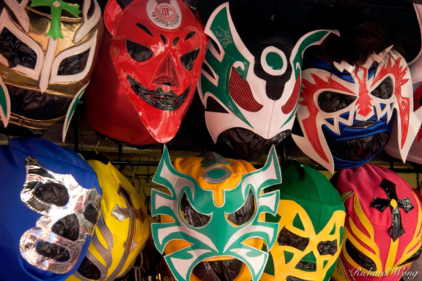 Mexican Luchador Lucha Libre Wrestling Masks at Olvera Street, Los Angeles, California, photo, photo