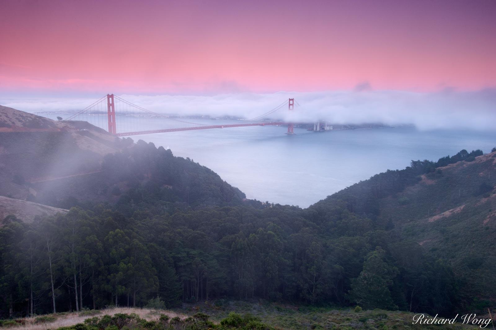 California, bridges, cloud, coast, dusk, foggy, golden gate bridge, iconic landmarks, landmark, landscapes, low clouds, marin headlands, mountain, mountains, san francisco, scenery, scenic landscape, , photo