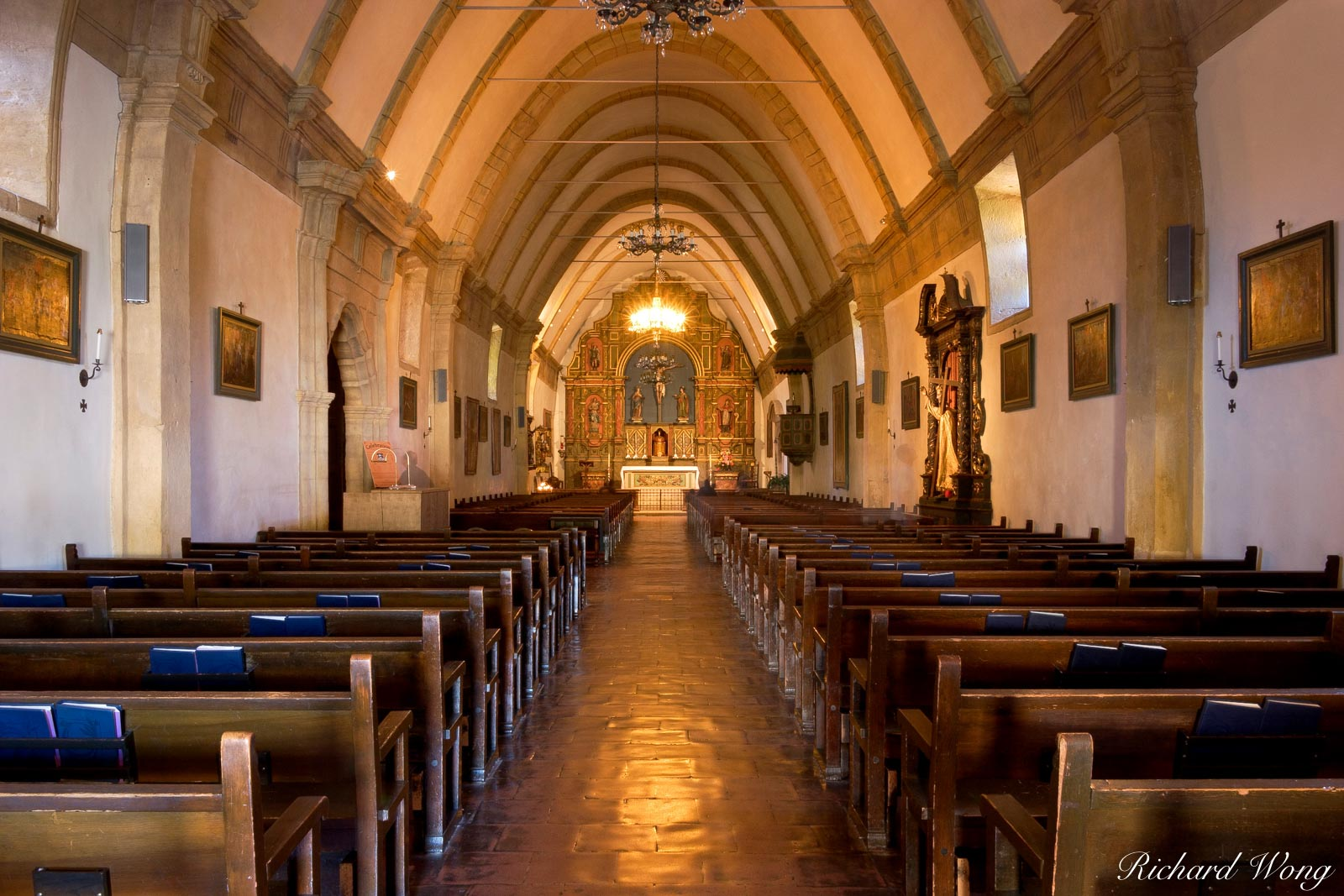 Carmel Mission Chapel Interior, Carmel-by-the-Sea, California, photo, photo