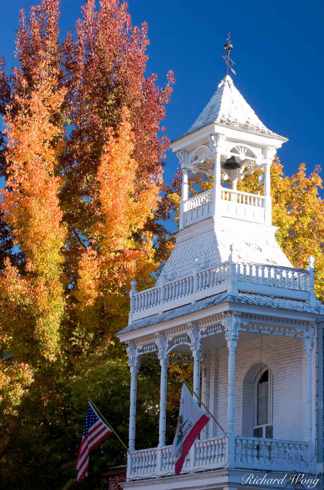 Historic Firehouse Number 1 in Fall Season, Nevada City, California, photo, photo