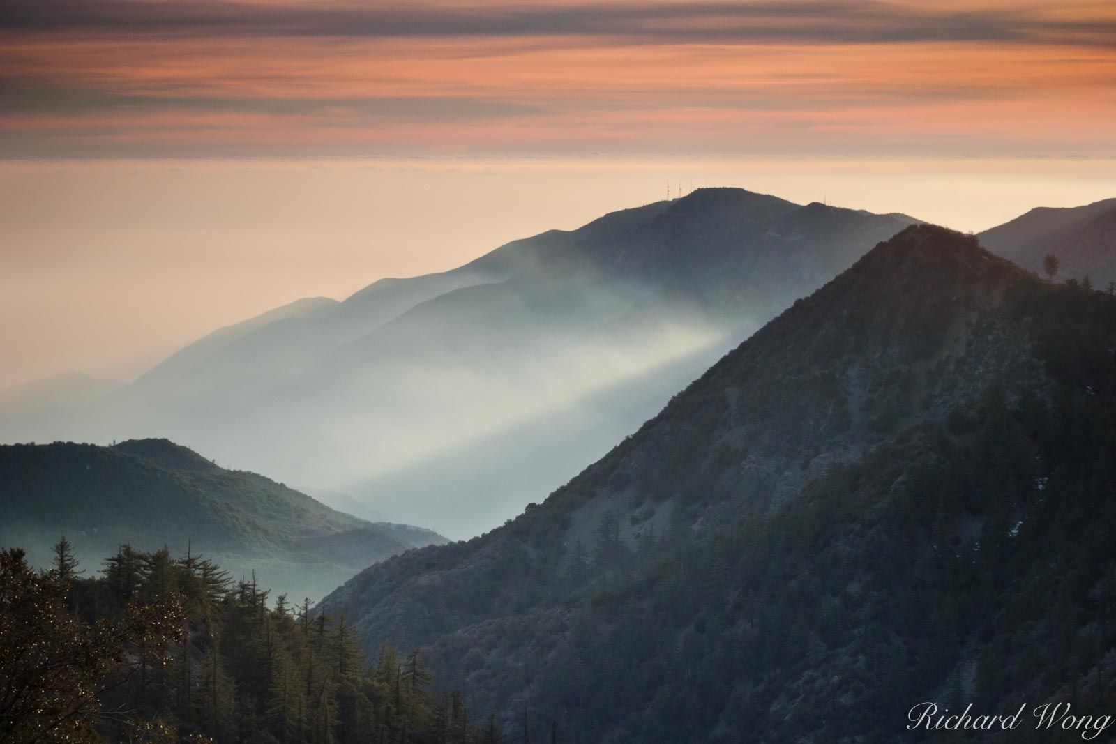 San Gabriel Mountains Sunset on Mount Baldy, Angeles National Forest, California, photo, photo
