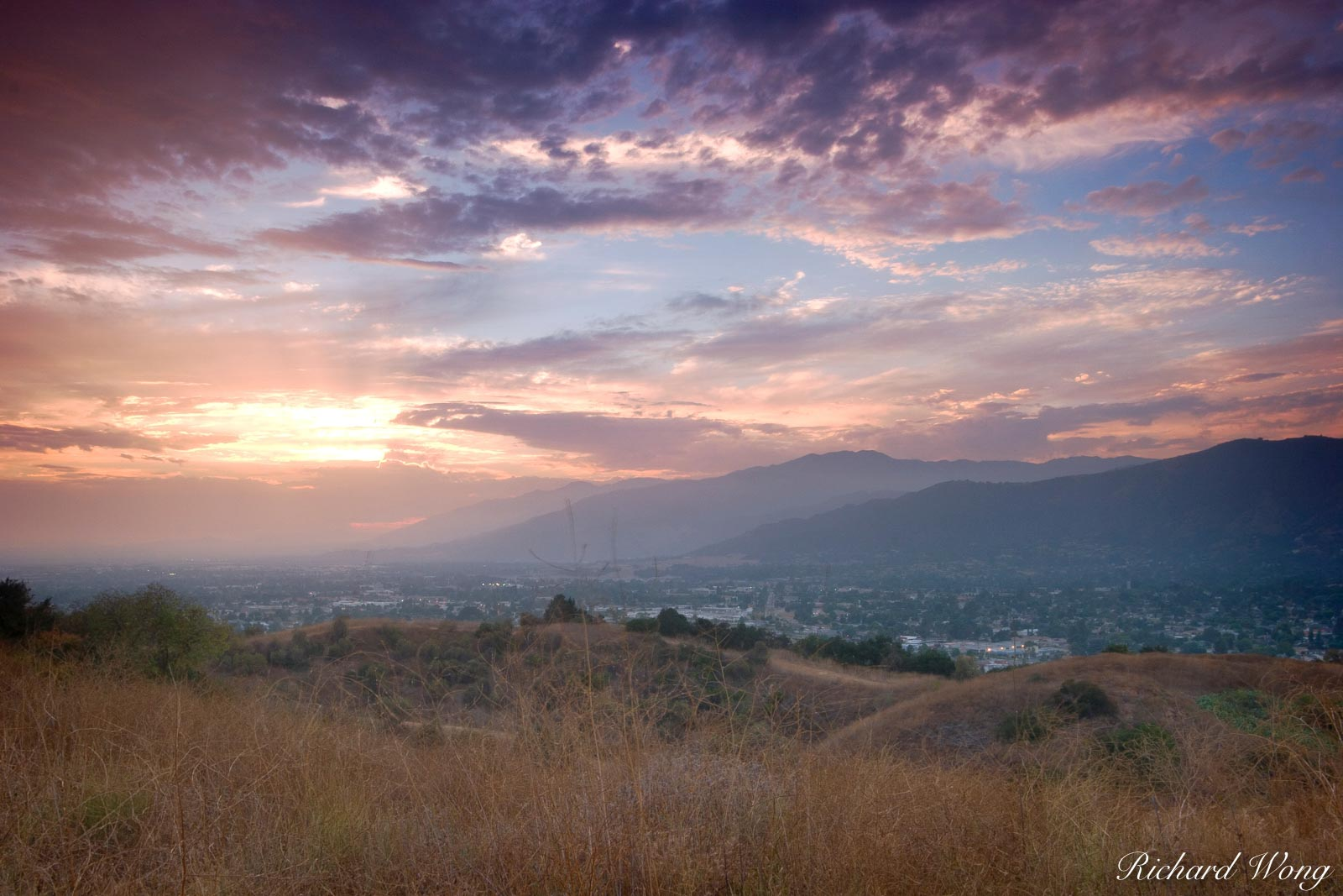 San Gabriel Valley Sunset, Glendora, California, photo, photo