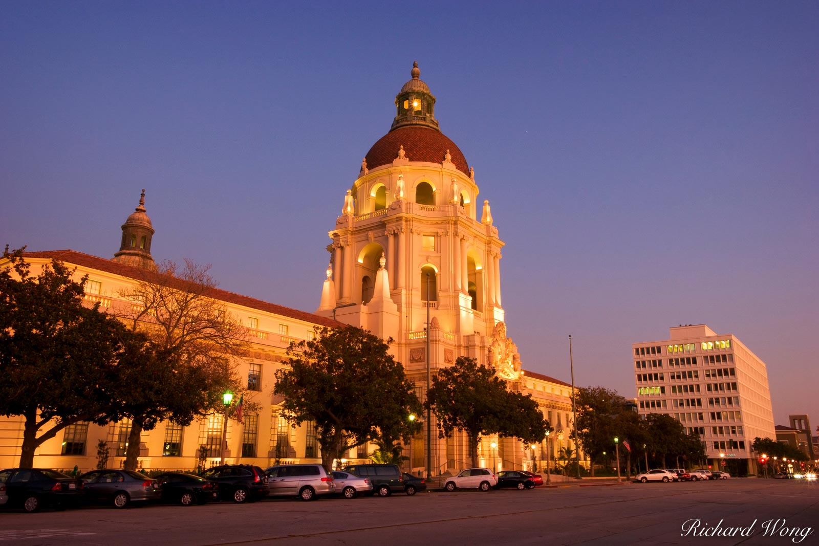 Pasadena City Hall Evening Lights, California, photo, photo