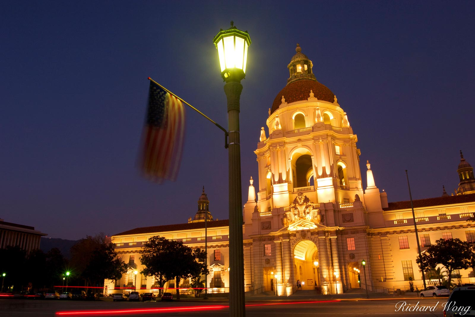 U.S. Flag Hanging on Lamppost in Front of City Hall for Labor Day, Pasadena, California, photo, photo