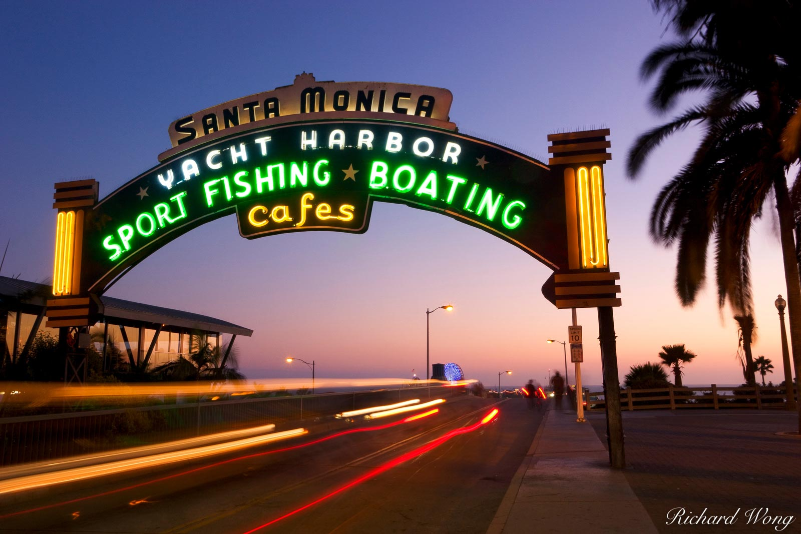Santa Monica Pier Neon Sign Entrance, California, photo, photo