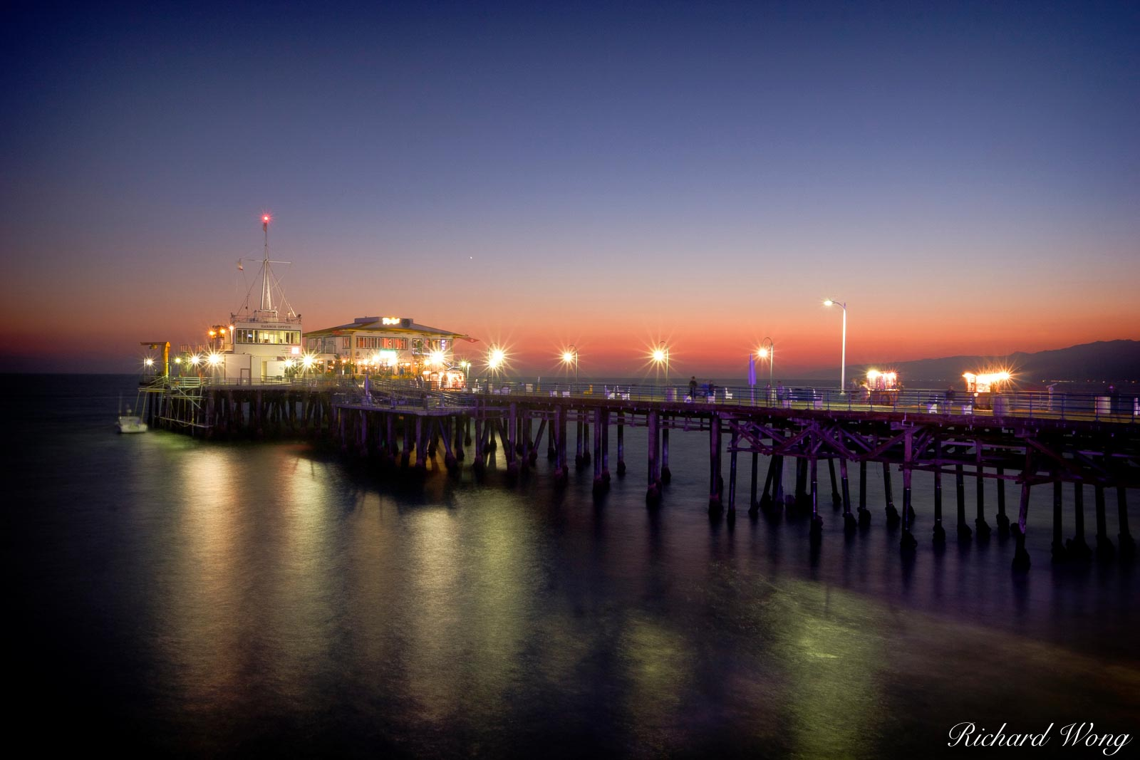 Santa Monica Pier at Dusk, Southern California, photo, photo