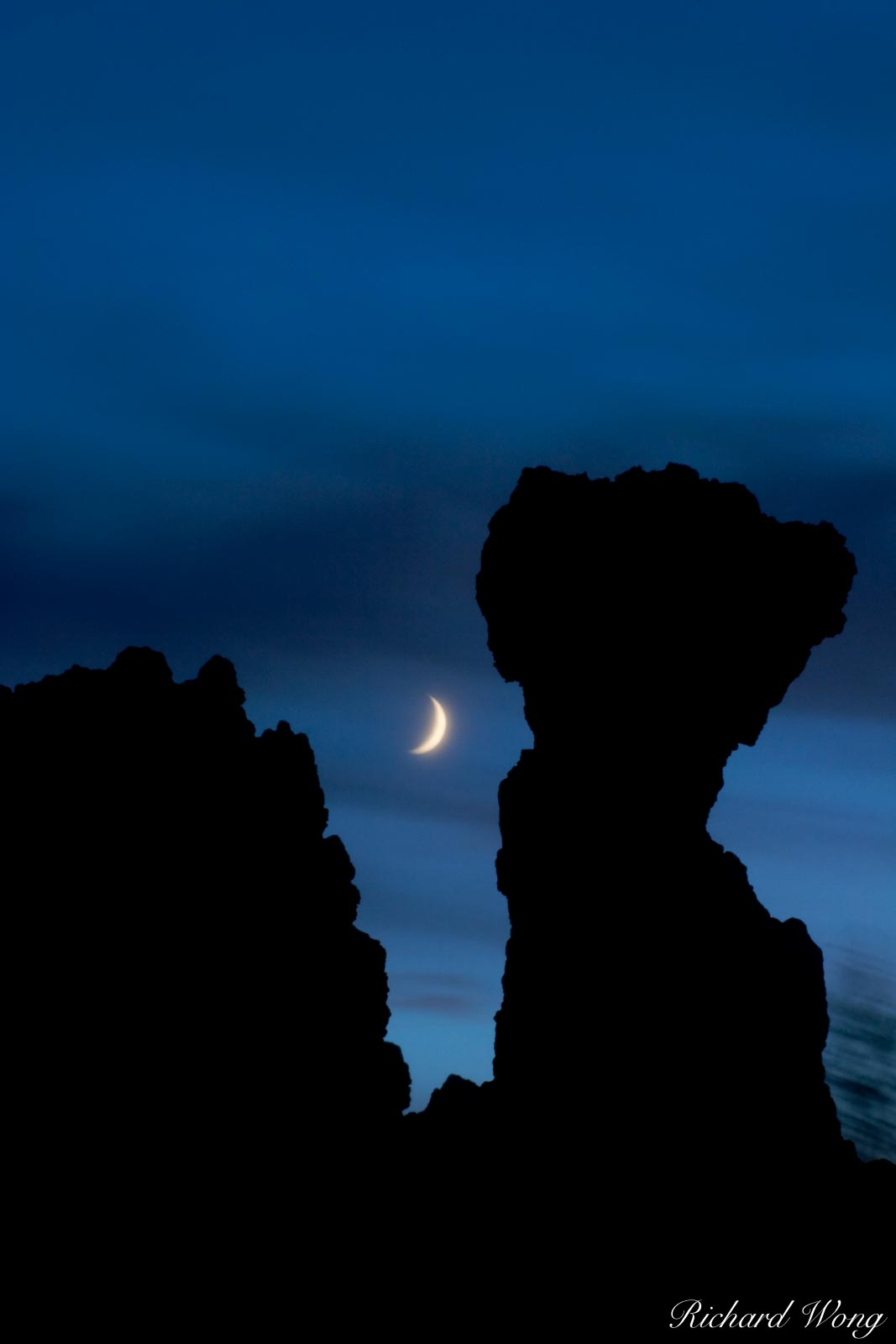 Tufa Silhouette and Crescent Moon, Mono Lake, California, photo, photo