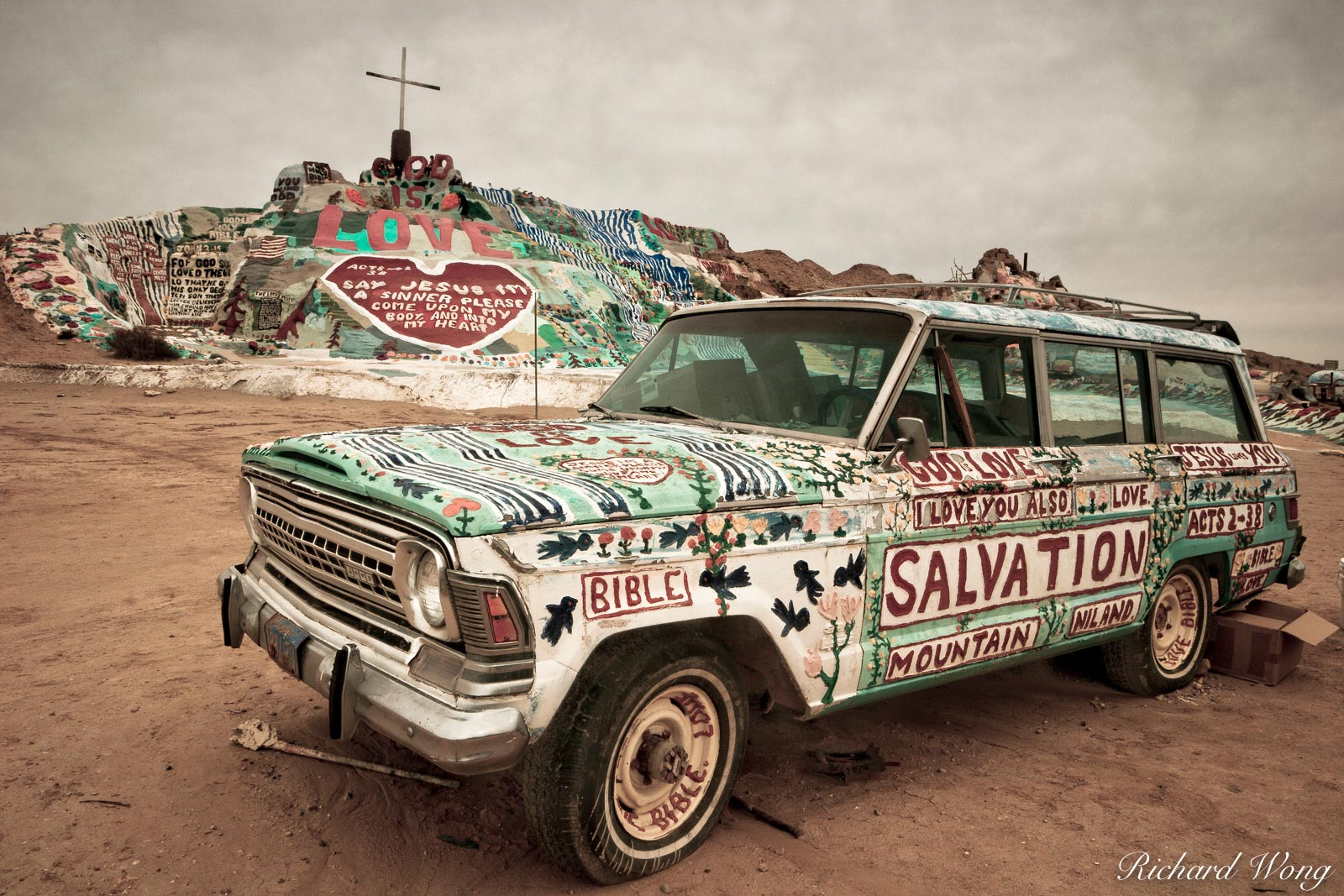 Spiritual Station Wagon at Salvation Mountain, Imperial County near Niland, California, photo, photo