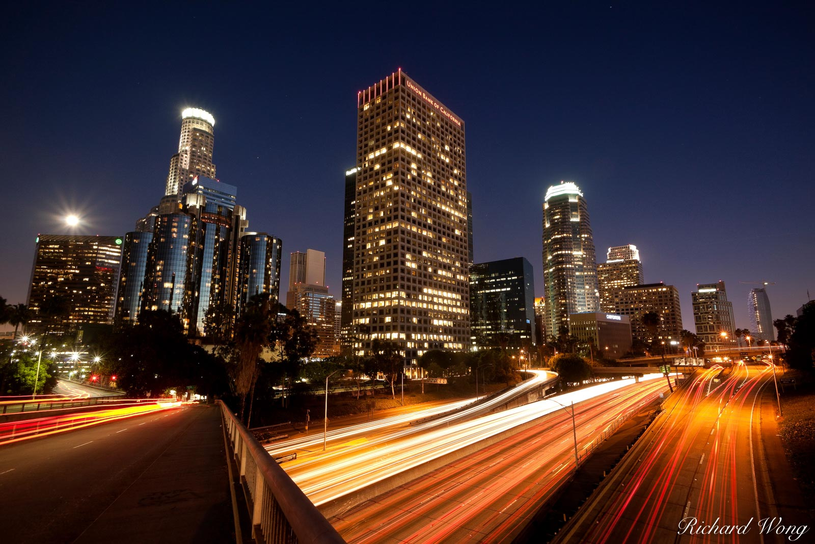 Downtown Los Angeles Skyline and 110 Harbor Freeway, California, photo, photo