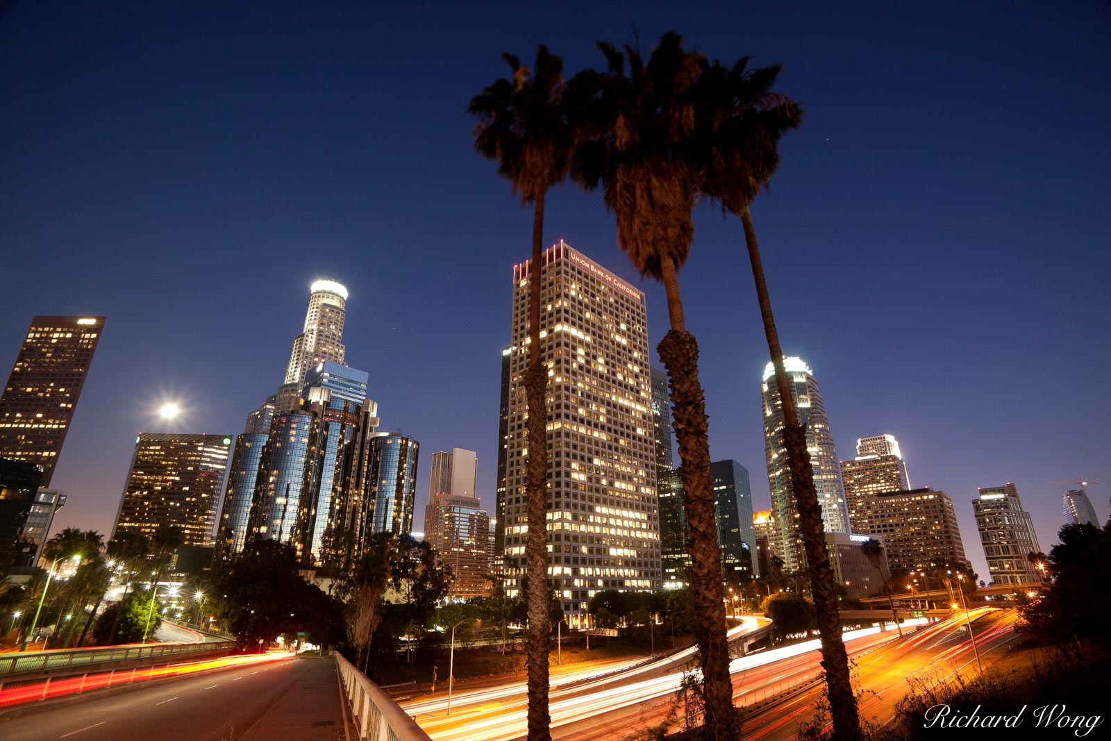 Downtown Los Angeles at Night, California, photo, photo