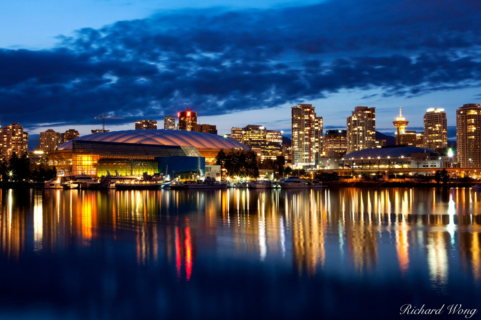 Downtown Vancouver Skyline at Night, British Columbia, Canada, photo, photo