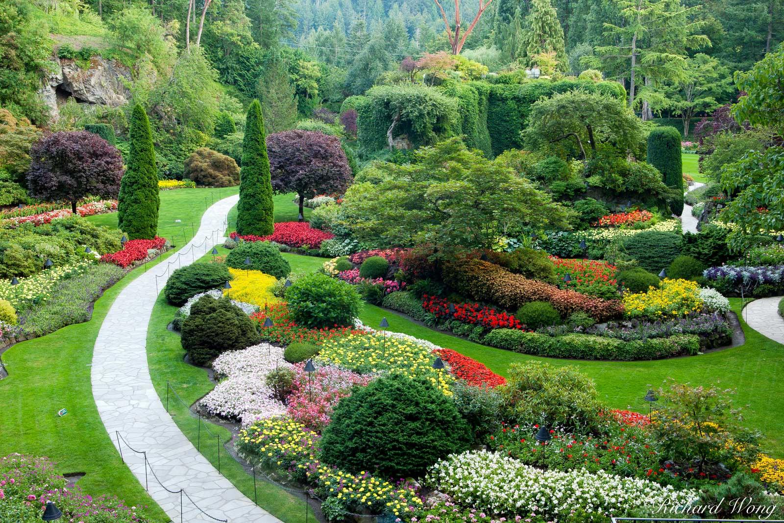 butchart gardens, sunken garden overlook, vancouver island, canada, british columbia, photo, photo