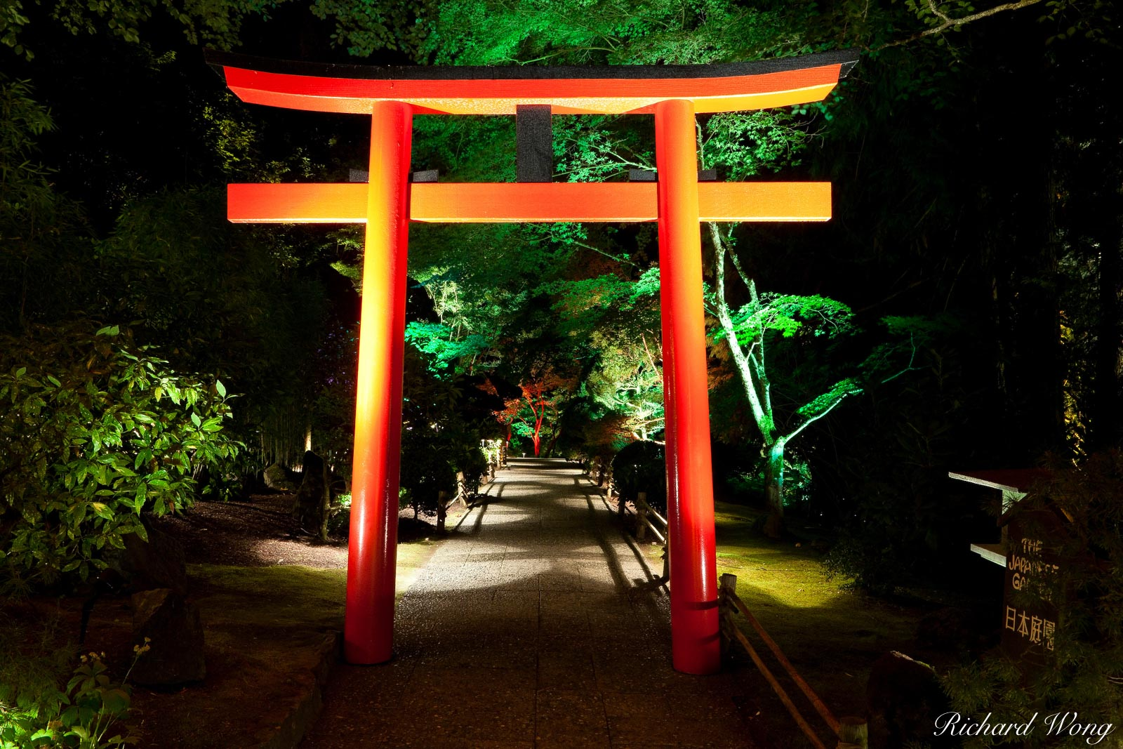 Japanese Garden at Night - The Butchart Gardens, Vancouver Island, B.C., photo, photo