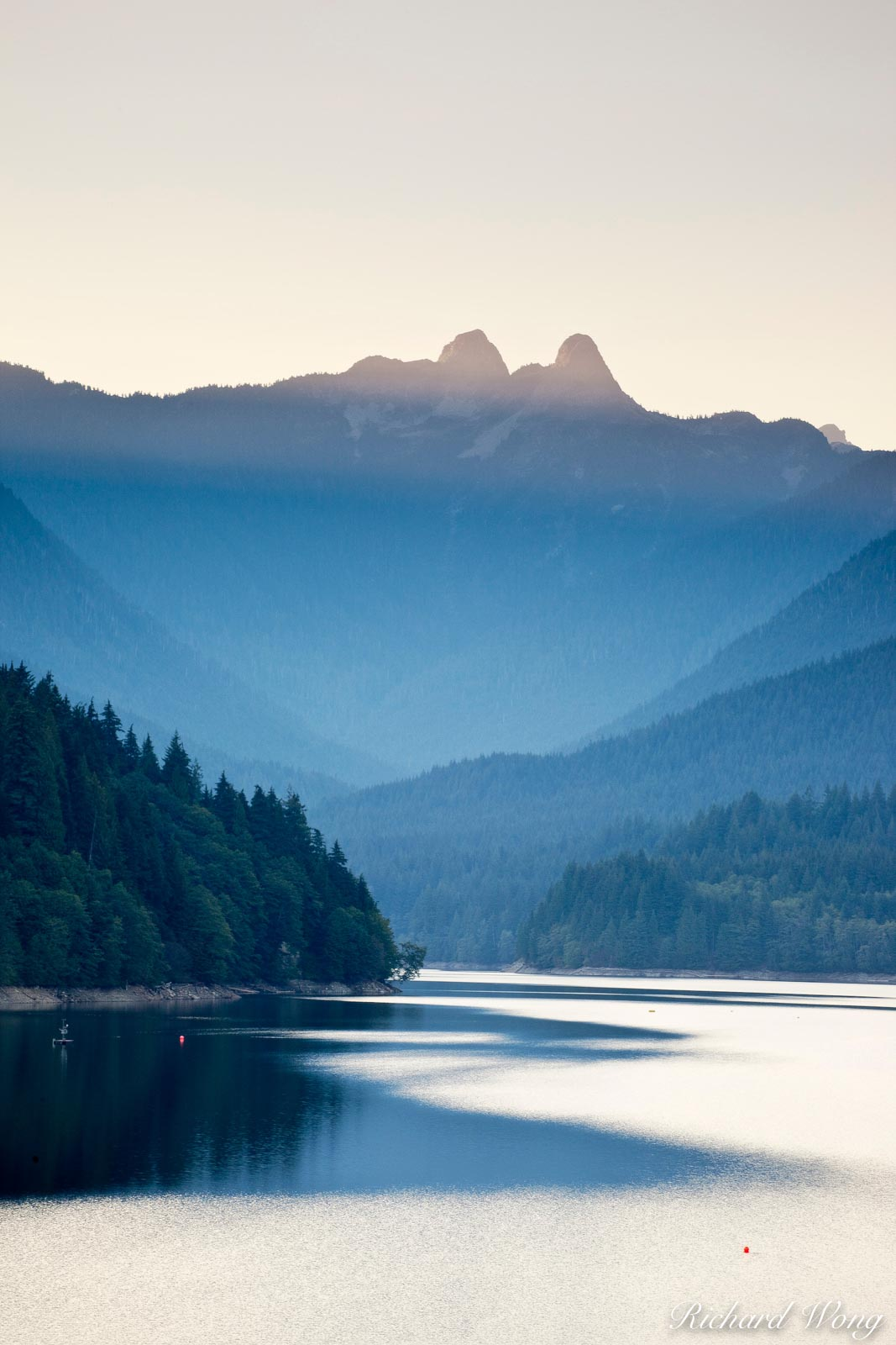 The Lions Forming a Backdrop over Capilano Lake - Capilano River Regional Park, North Vancouver, B.C., photo, photo
