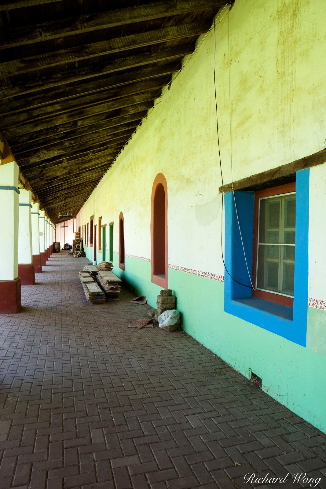 green hallway, mission san miguel arcangel, california, photo, photo