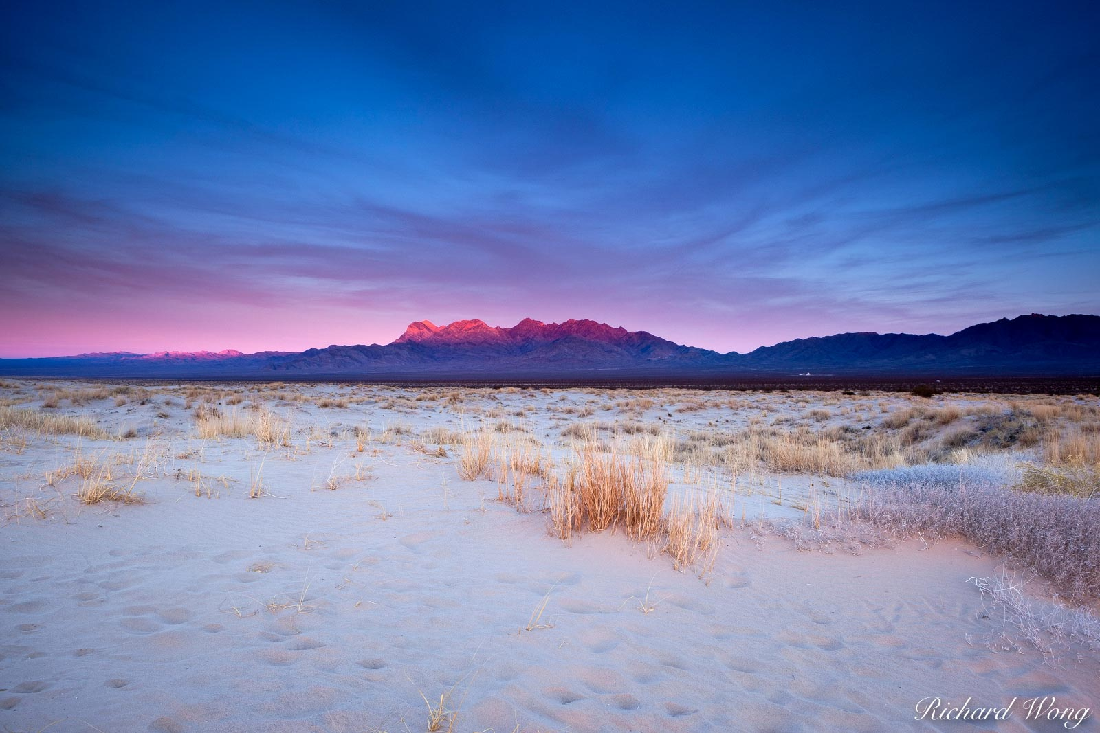 Sunset Alpenglow on Providence Mountains, Mojave National Preserve, California, photo, photo